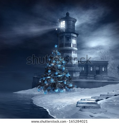 Lighthouse and blue christmas tree