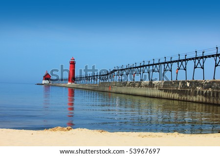 Lighthouse and Pier Grand Haven Michigan in the summer time - stock photo