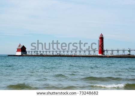 Lighthouse and Pier, Grand Heaven, Michigan - stock photo
