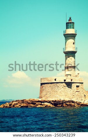 Lighthouse and sea in Chania Crete, impressions of Greece - stock photo