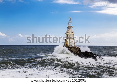 Lighthouse and seaway - stock photo