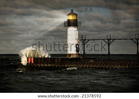 Lighthouse and stormy sea - stock photo