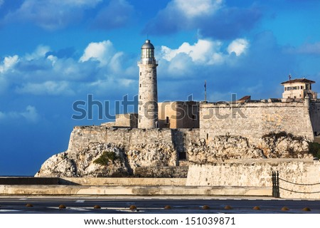lighthouse and the old fortress in Havana - stock photo