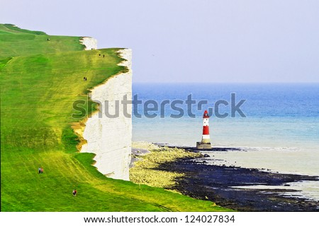 Lighthouse and the white cliffs of south England