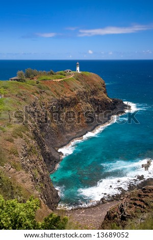 Lighthouse and Wildlife Refuse at Kilauea Point, Kauai, Hawaii - stock photo