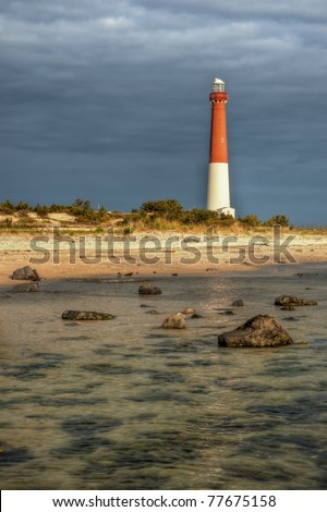 Lighthouse at Barnegat State Park, New Jersey. - stock photo