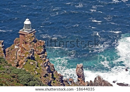 Lighthouse at Cape Point, South Africa - stock photo