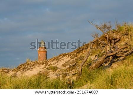 lighthouse at Darss Peninsula in Germany - stock photo