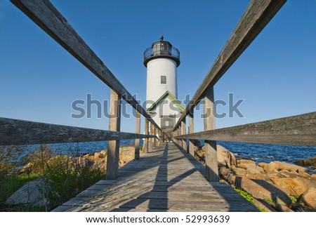 Lighthouse at dawn off Annisquam, Massachusetts - stock photo