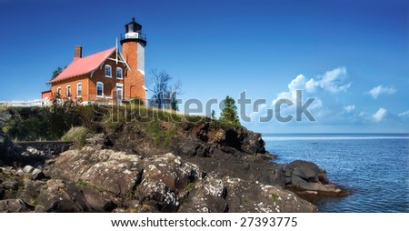 Lighthouse At Eagle Harbor, Michigan's Upper Peninsula - stock photo