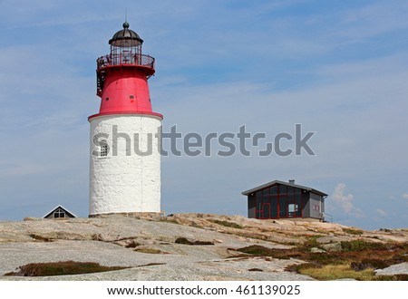 Lighthouse at island near Smogen West coast Sweden tree