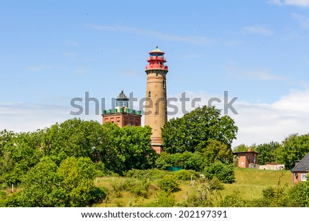 Lighthouse at Kap Arkona, Island of Ruegen, Germany - stock photo