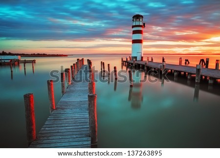Lighthouse at Lake Neusiedl at sunset - stock photo