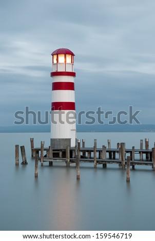 Lighthouse at Lake Neusiedl, Austria - stock photo