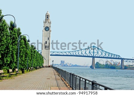 Lighthouse at Montreal Waterfront, Quebec Canada - stock photo