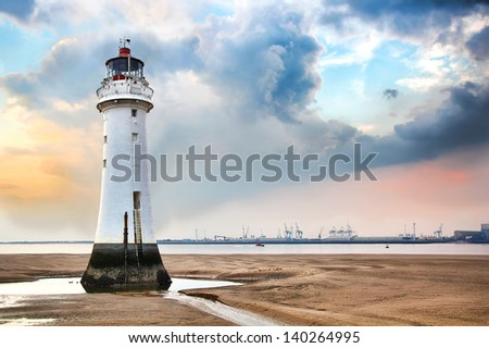 Lighthouse at New Brighton, England - stock photo