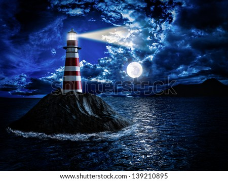 Lighthouse at night - stock photo