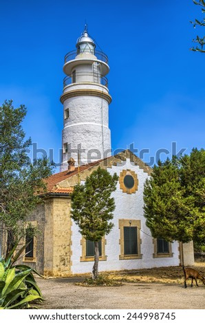 Lighthouse at Port de Soller in Majorca - stock photo