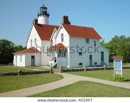 Lighthouse at Pt Iroquois, Michigan - stock photo