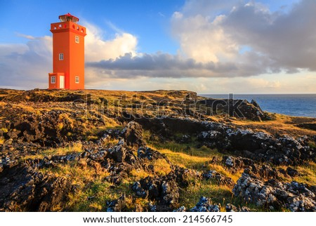 Lighthouse at Snaefellsnes Peninsula in western Iceland - stock photo