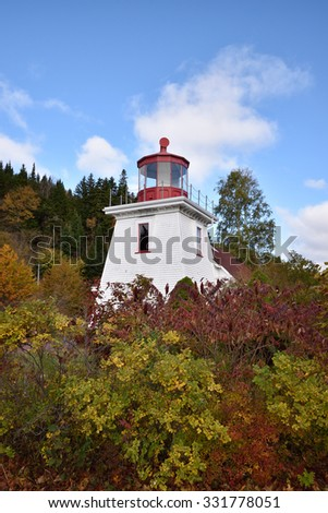 Lighthouse at St Martins New Brunswick Canada - stock photo