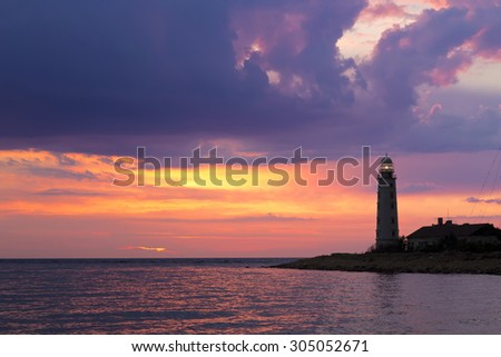 Lighthouse at sunset, Sevastopol, Crimea - stock photo