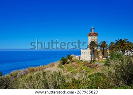 Lighthouse at the cape Spartel in Tangier, Morocco - stock photo
