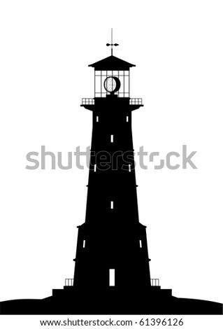 Lighthouse - black isolated on white (raster version) - stock photo