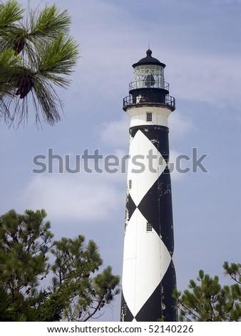Lighthouse, Cape Lookout National Seashore, North Carolina - stock photo