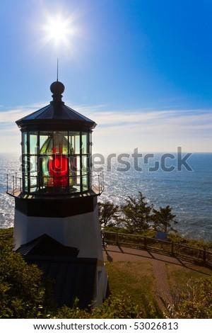 Lighthouse.  Cape Meares Lighthouse, Pacific Ocean, Oregon U.S.A. - stock photo