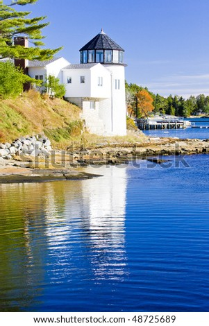 lighthouse, First Light Bed & Breakfast, Maine, USA - stock photo