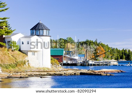 lighthouse, First Light Bed   Breakfast, Maine, USA - stock photo