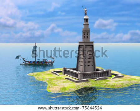 Lighthouse from Alexandria - stock photo