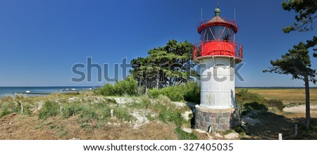 Lighthouse Gellen (Island Hiddensee - Germany) - panorama - stock photo