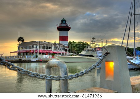 lighthouse harbor - stock photo