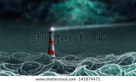 Lighthouse illuminated at night stormy sea, digital illustration. - stock photo
