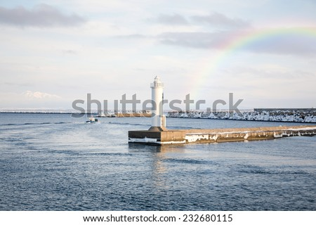 Lighthouse in Abashiri, Hokkaido, Japan - stock photo