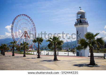 Lighthouse in Batumi, Georgia against blue sky in summer - stock photo