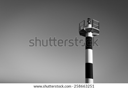 Lighthouse in Black and White - stock photo