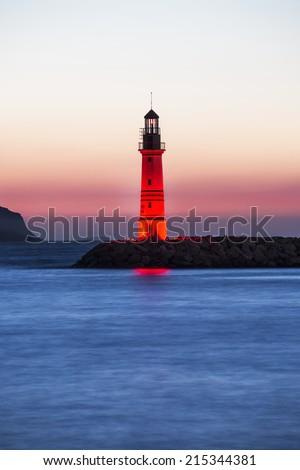 Lighthouse in Bodrum Turgutreis, Turkey - stock photo