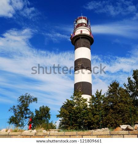 lighthouse in bright summer day