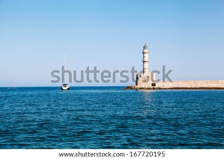 Lighthouse in Chania on island of Crete, Greece  - stock photo