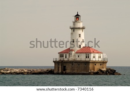 Lighthouse in Chicago harbor - stock photo
