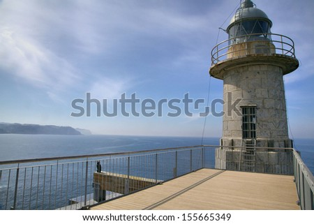 Lighthouse in city Lekeitio, Basque country, Spain.
