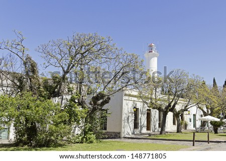 Lighthouse in Colonia del Sacramento, small colonial town, Uruguay. - stock photo