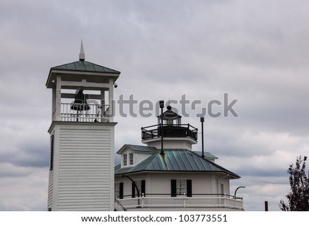 Lighthouse in harbour of St Michaels on Chesapeake bay - stock photo