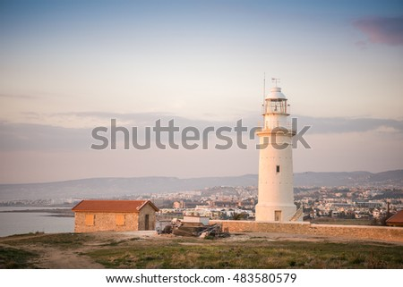 Lighthouse in historic Paphos, Republic of Cyprus
