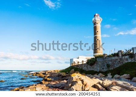 Lighthouse in Jose Ignacio near Punta del Este, Uruguay - stock photo
