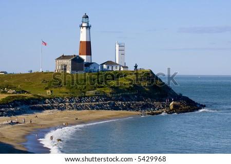 Lighthouse in Long Island NY - stock photo