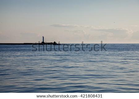 Lighthouse in Mangali on the baltic sea. Riga. Latvia. Walkway. Landscape - stock photo
